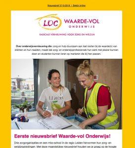 Nieuwsbrief Waarde-vol onderwijs Leiden